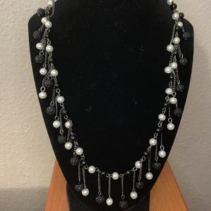 NY Black and Pearl Statement Necklace